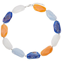 Buy John Lewis Large Bead Short Necklace, Deep Blue/Orange Online at johnlewis.com