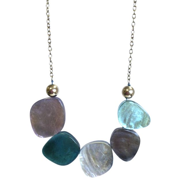 One Button One Button Laminate Oval Link Statement Necklace