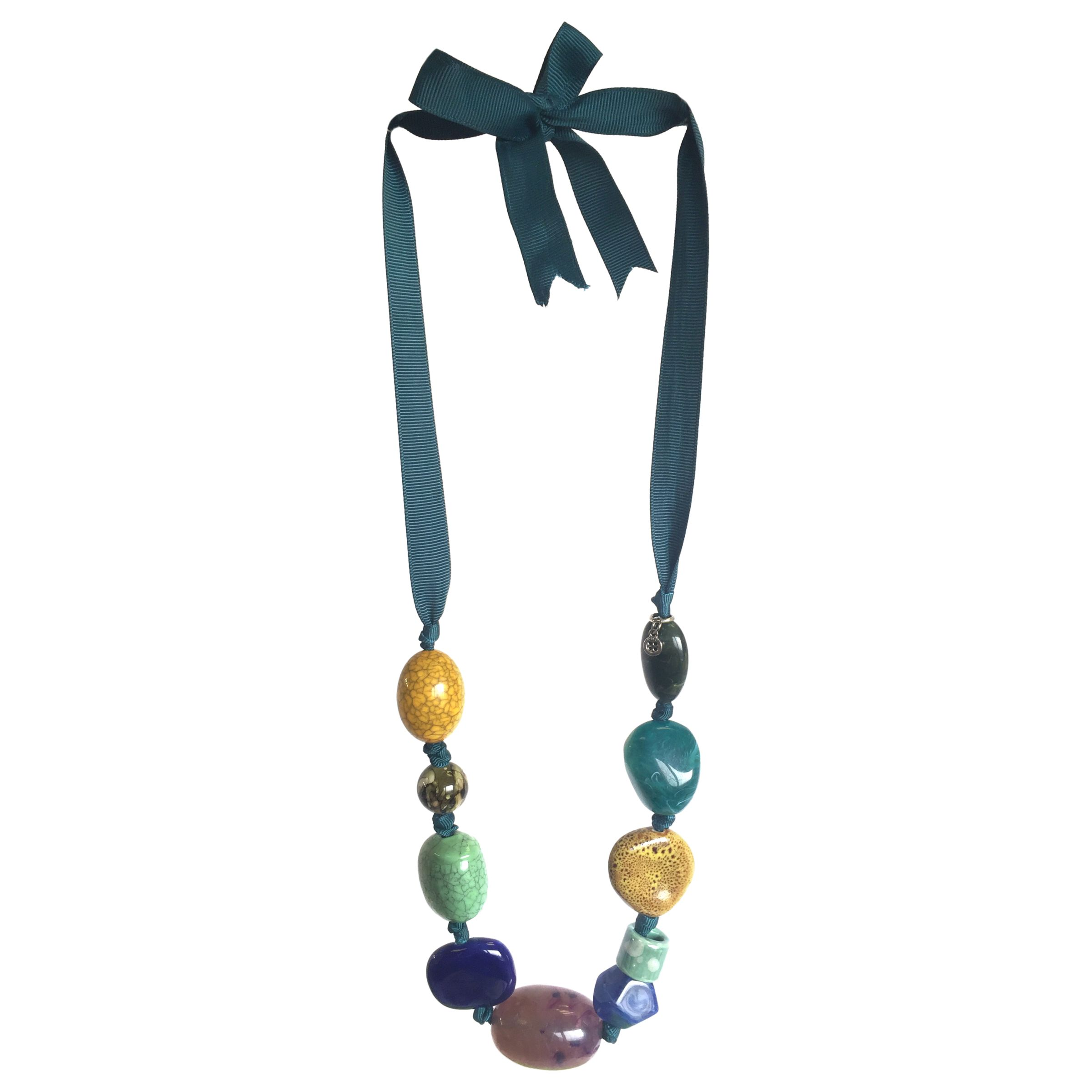 One Button One Button Mixed Bead Tie Necklace, Teal/Multi