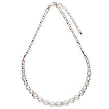 Buy John Lewis Faux Pearl Double Chain Collar Necklace, Rose Gold/White Online at johnlewis.com