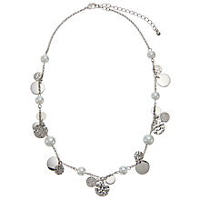 Buy John Lewis Faux Pearl and Disc Charm Chain Necklace, Silver Online at johnlewis.com