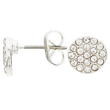 Buy John Lewis Glass Crystal Pave Round Stud Earrings, Silver Online at johnlewis.com