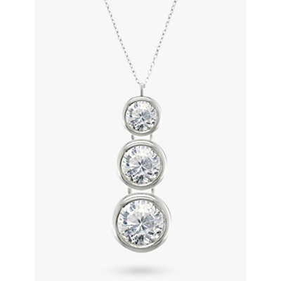 EWA 18ct White Gold Trilogy Rub Over Diamond Pendant Necklace
