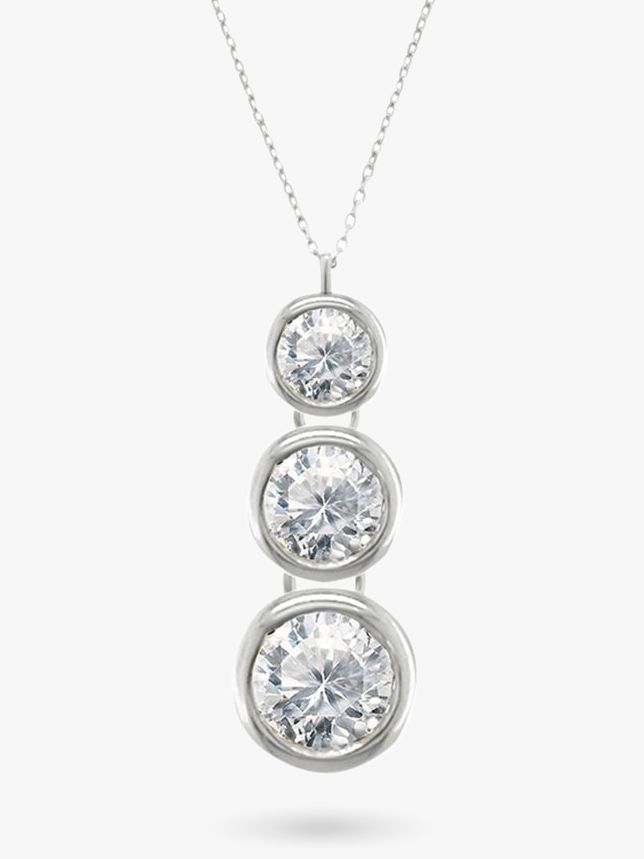 EWA EWA 18ct White Gold Trilogy Rub Over Diamond Pendant Necklace