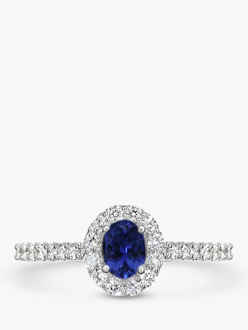 EWA EWA 18ct White Gold Oval Sapphire and Diamond Cluster Engagement Ring