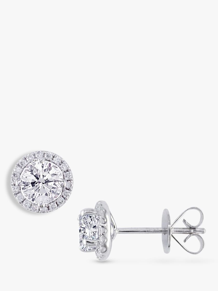 EWA EWA 18ct White Gold Diamond Cluster Stud Earrings, 0.81ct
