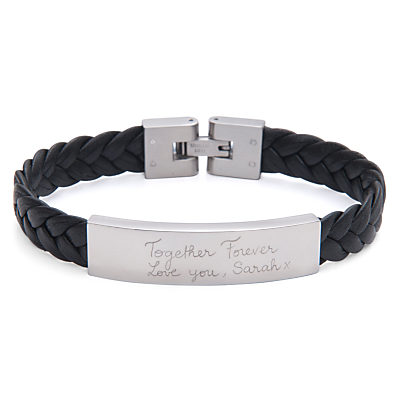Merci Maman Men's Personalised Leather Braided Bracelet, Black