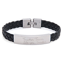 Buy Merci Maman Men's Personalised Leather Braided Bracelet, Black Online at johnlewis.com
