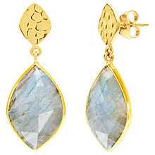 Buy Auren Labradorite Hammered Drop Earrings, Gold/Grey Online at johnlewis.com