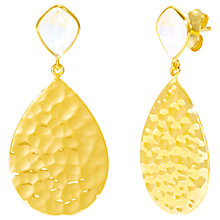 Buy Auren 18ct Gold Vermeil Moonstone Hammered Teardrop Drop Earrings, Gold/White Online at johnlewis.com