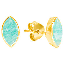 Buy Auren 18ct Gold Vermeil Marquise Stud Earrings, Gold/Amazonite Online at johnlewis.com