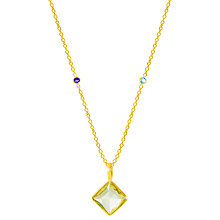 Buy Auren Topaz Square Pendant Necklace, Gold/Multi Online at johnlewis.com