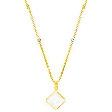 Buy Auren 18ct Gold Vermeil Moonstone Square Pendant Necklace, Gold/Multi Online at johnlewis.com