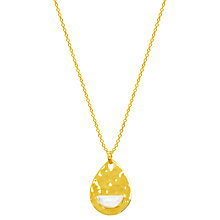 Buy Auren 18ct Gold Vermeil Moonstone Hammered Teardrop Pendant Necklace, Gold/White Online at johnlewis.com