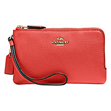 Buy Coach Pebble Leather Medium Double Zip Purse, Deep Coral Online at johnlewis.com