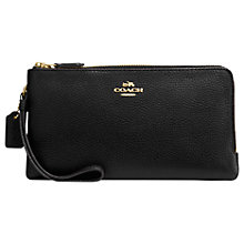Buy Coach Pebble Leather Double Zip Purse, Black Online at johnlewis.com