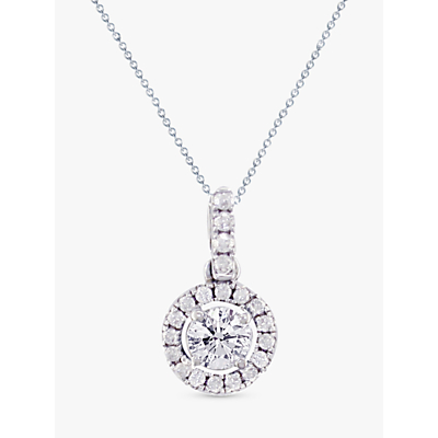 EWA 18ct White Gold Diamond Cluster Pendant Necklace, 0.65ct