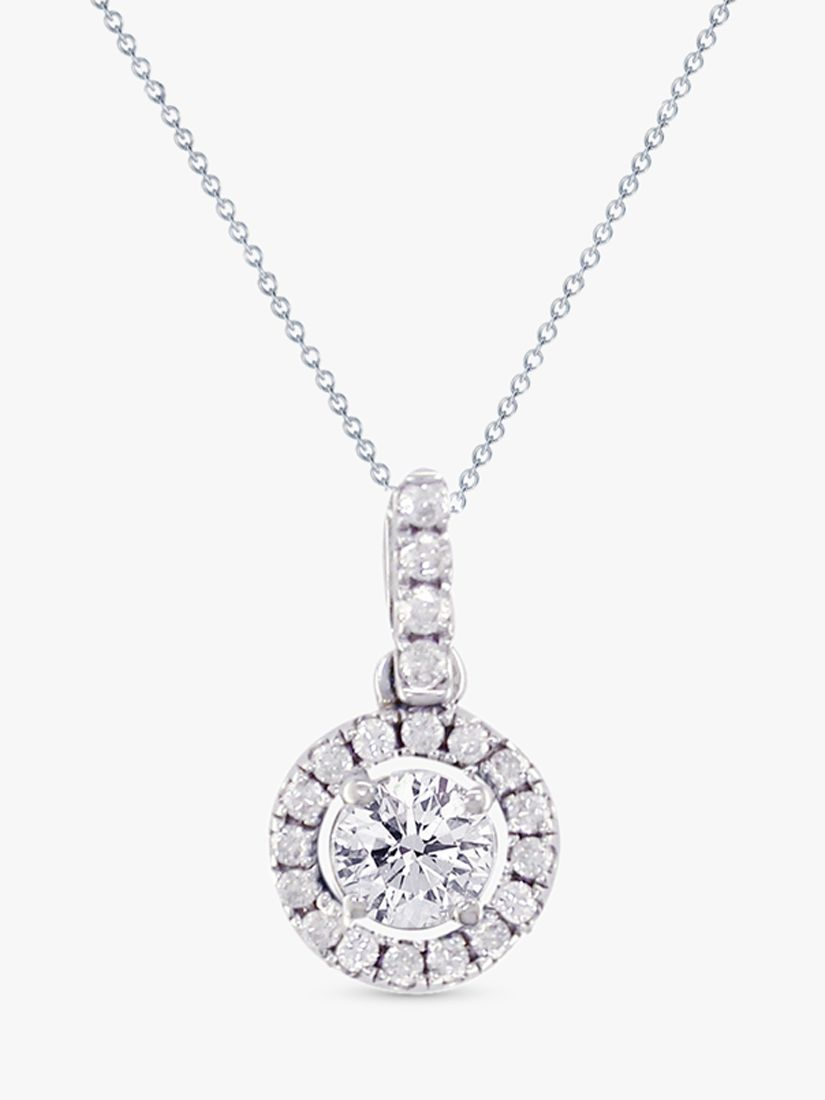 EWA EWA 18ct White Gold Diamond Cluster Pendant Necklace, 0.65ct