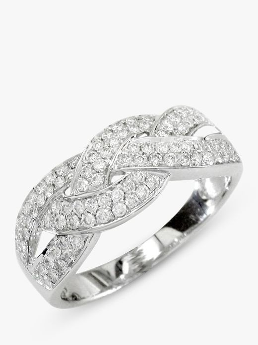 EWA EWA 18ct White Gold Diamond Cross Pattern Ring, 0.57ct