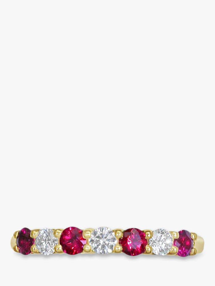 EWA EWA 18ct Yellow Gold Brilliant Cut Ruby and Diamond Half Eternity Ring