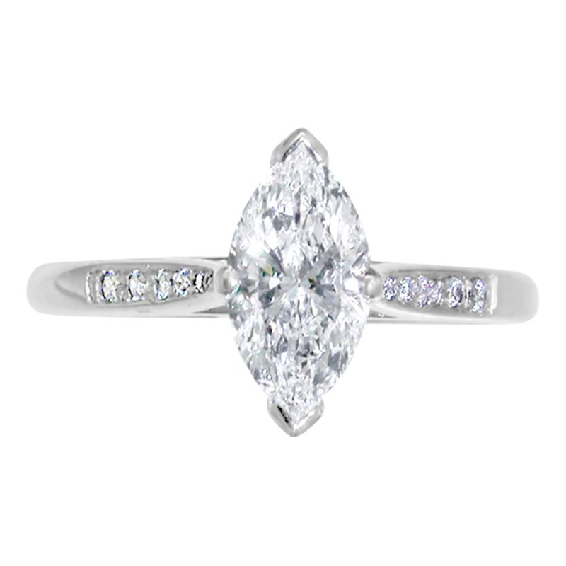 EWA EWA Platinum Marquise Cut Diamond Ring, 0.63ct