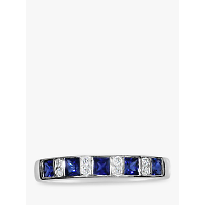 EWA 18ct White Gold Diamond and Sapphire Half Eternity Ring