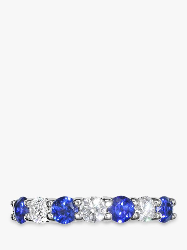 EWA EWA 18ct White Gold Brilliant Cut Sapphire and Diamond Half Eternity Ring