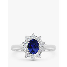 Buy EWA 18ct White Gold Sapphire and Diamond Engagement Ring, 0.45ct Online at johnlewis.com