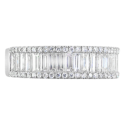 EWA 18ct White Gold Baguette and Brilliant Cut Diamond Eternity Ring, 1.20ct
