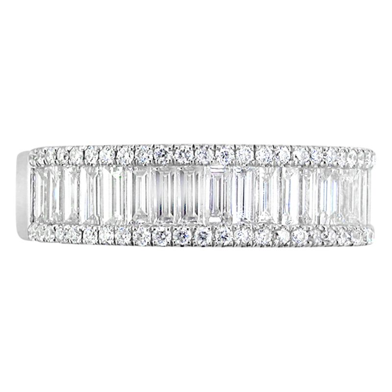 EWA EWA 18ct White Gold Baguette and Brilliant Cut Diamond Eternity Ring, 1.20ct