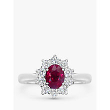 Buy EWA 18ct White Gold Ruby and Diamond Cluster Engagement Ring, 1.11ct Online at johnlewis.com