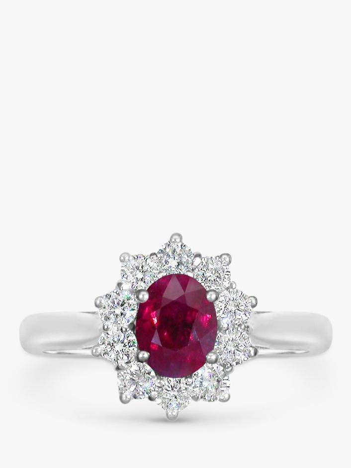 EWA EWA 18ct White Gold Ruby and Diamond Cluster Engagement Ring, 1.11ct