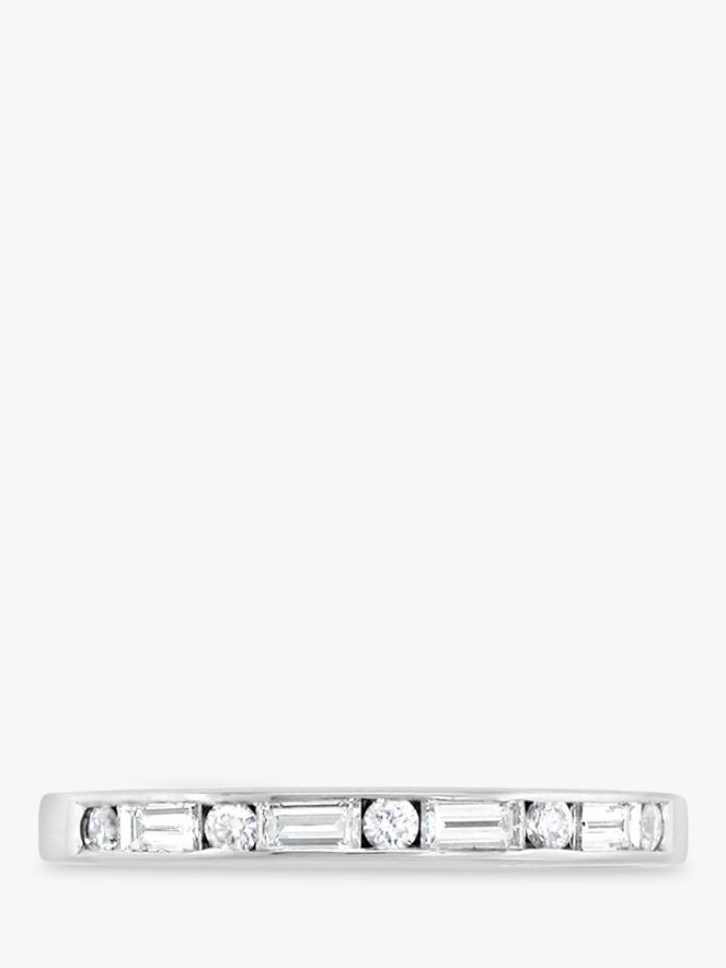 EWA EWA 18ct White Gold Baguette and Brilliant Cut Diamond Half Eternity Ring, 0.32ct