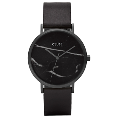 CLUSE CL40001 Women's La Roche Leather Strap Watch, Black