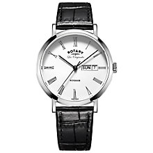 Buy Rotary GS90153/01 Men's Les Originales Windsor Day Date Leather Strap Watch, Black/White Online at johnlewis.com