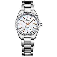 Buy Rotary LB05079/41 Women's Havana Date Bracelet Strap Watch, Silver/Mother of Pearl Online at johnlewis.com
