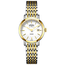 Buy Rotary LB90154/01 Women's Les Originales Windsor Date Two Tone Bracelet Strap Watch, Silver/Gold Online at johnlewis.com