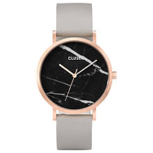 Buy CLUSE CL40006 Women's La Roche Leather Strap Watch, Grey/Black Online at johnlewis.com