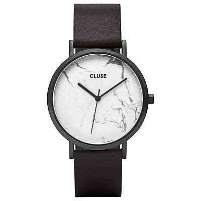 CLUSE CL40002 Women's La Roche Leather Strap Watch, Black/White