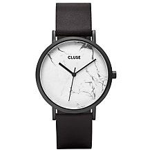 Buy CLUSE CL40002 Women's La Roche Leather Strap Watch, Black/White Online at johnlewis.com