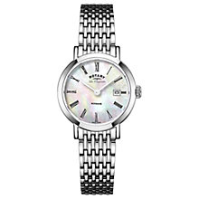 Buy Rotary LBB90153/07 Women's Les Originales Windsor Date Bracelet Strap Watch, Silver/White Mother of Pearl Online at johnlewis.com