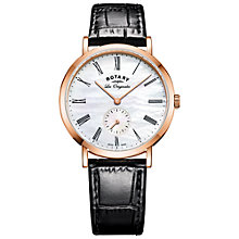 Buy Rotary LS90193/41 Women's Les Originales Leather Strap Watch, Black/White Online at johnlewis.com