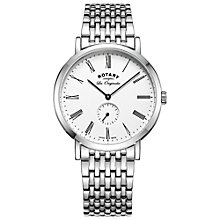 Buy Rotary GB90190/01 Men's Les Originales Windsor Bracelet Strap Watch, Silver/White Online at johnlewis.com