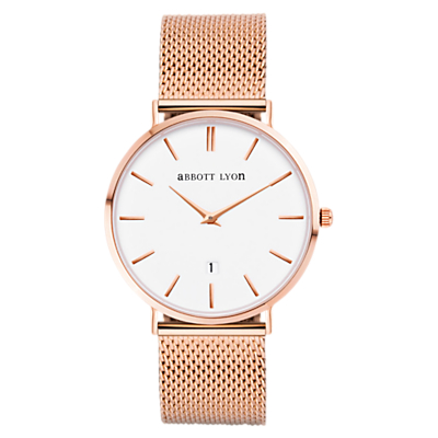 Abbott Lyon Women's Rose Gold Date Mesh Bracelet Strap Watch, Rose Gold/White