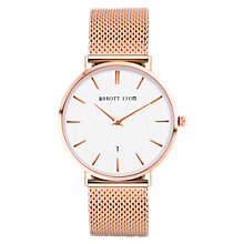 Buy Abbott Lyon Women's Rose Gold Date Mesh Bracelet Strap Watch, Rose Gold/White Online at johnlewis.com