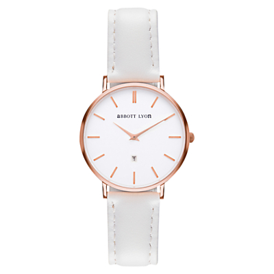 Abbott Lyon Women's White Dove Rose Gold Date Suede Strap Watch, White