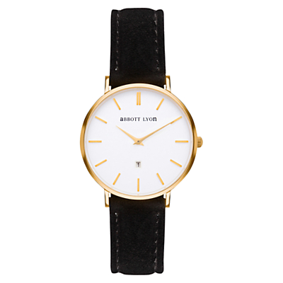 Abbott Lyon Women's Kensington Date Suede Strap Watch