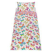 Buy little home at John Lewis Butterflies Duvet Cover and Pillowcase Set, Single Online at johnlewis.com