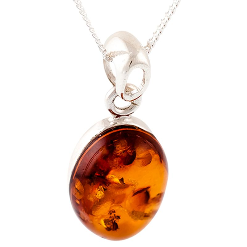 Be-Jewelled Be-Jewelled Sterling Silver Amber Oval Pendant Necklace, Cognac