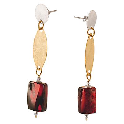 Be-Jewelled Amber Barrel Drop Earrings, Dark Cognac
